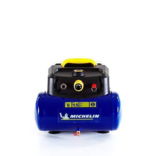MICHELIN Compresseur d'Air Portatif MBL6 - Cuve 6 Litres - Sans Huile - Moteur 1.5 cv - Pression Maximale 8 bar - Débit d'Air 160 l/min - 9.6 m³/h