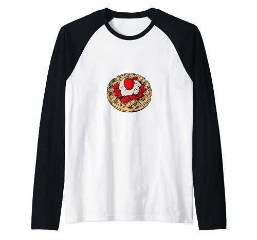 Gofres con fresas y nata montada Camiseta Manga Raglan