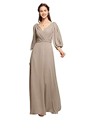 The chiffon long dress features double v-neck and 3/4 puff sleeves, fully lined, built-in bra, a perfect long sleeve maxi dress for women summer or fall wear About Color: We provide 40+ popular colors for your choice now, and we will always update th...