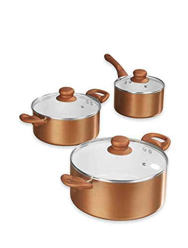 Bratmaxx Kochgeschirr Keramik Topfset 'Kupfer Style', 6 teilig - Stieltopf 16cm 1,8l - Topf 20cm 2,8 l - Topf 24cm 5l
