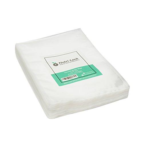 Nutri-Lock Vacuum Sealer Bags. 100 Quart Bags 8x12 Inch. Commercial Grade Food Saver Bags. Works with FoodSaver and Sous Vide. BPA Free.