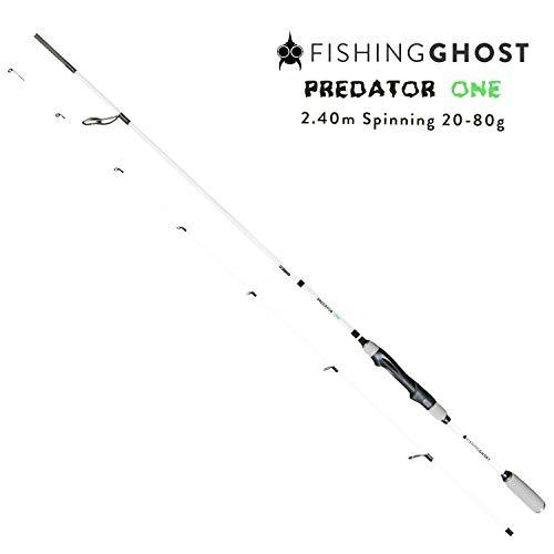 FISHINGGHOST® PredatorOne Hechtrute 2,40m, 20-80g - Angelrute –Spinnrute –Steckrute – direkte Kraftübertragung beim Angeln auf Hecht, Zander, Dorsch, Seeforelle, Lachs