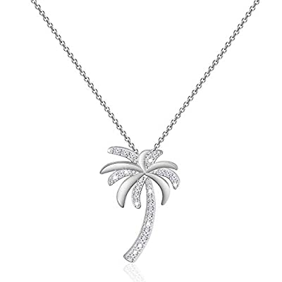 ◆Palm Tree Pendant Necklace-Cute Fashion Palm Tree Necklace with CZ Stones.Unique Palm Tree design, this pendant necklace charm brings you closer to your loved ones. ◆Tropical Beach Jewelry Gift-Palm Trees symbolize tenacious will and unyielding spir...