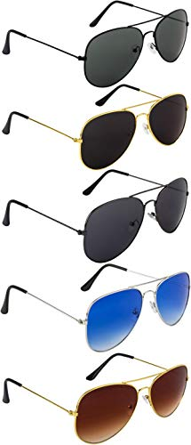 NuVew Unisex Combo Pack of 5 Aviator Sunglasses (Multi-color | Free Size | UV Protection)