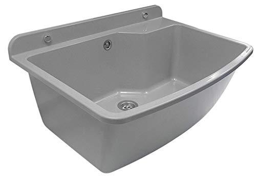 GOSPO Ausgussbecken, Waschbecken 61 cm x 44 cm x 23,5 cm, Waschtrog mit Überlauf und Siphon, Spülbecken inkl. Zubehör, stabiler Kunststoff, Waschraum 38 Liter Fass. (Grau)