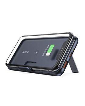 AUKEY Batterie Externe sans Fil avec 10000mAh, Chargeur Support Pliable, Batterie Externe équipée de PD 3.0, Quick Charge 3.0, Batterie Externe USB-C de 18 W pour iPhone 12/12 Pro Max, Samsung