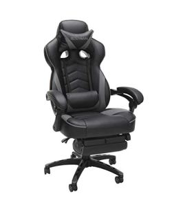 RESPAWN 110 Racing Style Gaming Chair, Reclining Ergonomic Leather Chair with Footrest, in Gray (RSP-110-GRY)