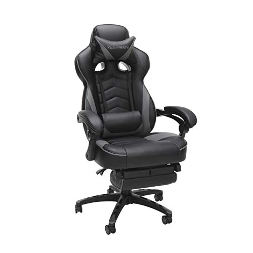 RESPAWN RSP-110 Reclining Ergonomic Gaming Chair with Footrest in Gray (RSP-110-GRY)