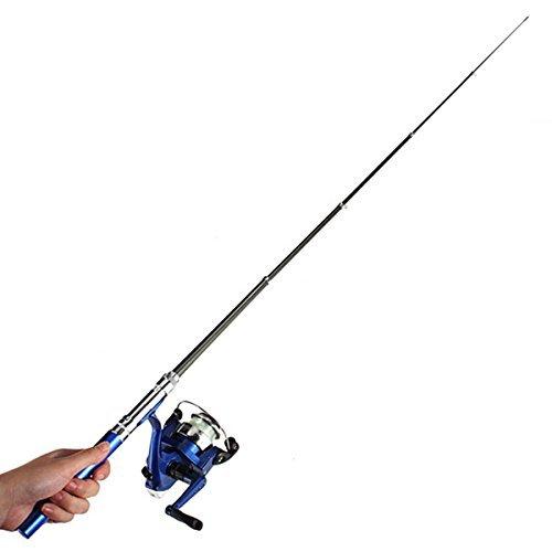 OUTERDO Mini Angelrute Angeln Set Angelrolle Teleskopruten Angelzubeh?r Fliegenrute 1M Blau