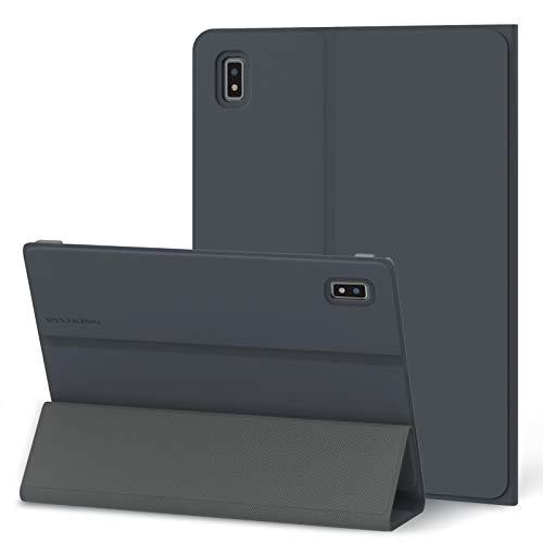 Kingpad K10PRO/K10専用 タブレットケース, 10.1インチ, オートスリープ ウェイク, 3段階角度調整, 高級 PU 三つ折りスタンド, ハードバックシェルスマート保護カバー, グレー