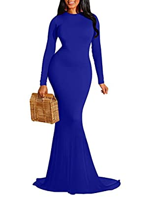 Feature: sexy ,round neck, long sleeve,backless,long mermaid dress ,solid color,stretchy Fabrics:90% Cotton, 10% Spandex. Good elasticity,Soft and comfortable to wear,Breathable,Good for the skin Size:S=USA 4-6,M=8-10,L=12-14,XL=16-18, Size dimension...