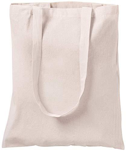 Bolsa tote de algodón natural, para ir de compras, 10 unidades Marfil...