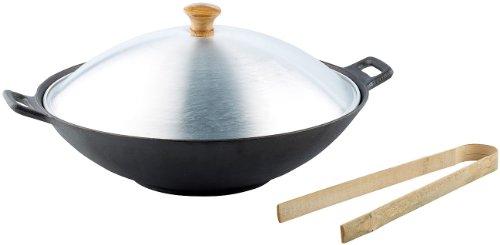 Tornwald-Schmiede Wok Pfanne: Gusseisen Wok Set, 37cm (Asiatische Wok Gemüse Bratpfanne, Induktion)
