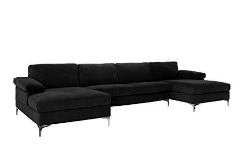 Casa AndreaMilano Modern Large Velvet Fabric U-Shape Sectional Sofa, Double Extra Wide Chaise Lounge Couch, Onyx