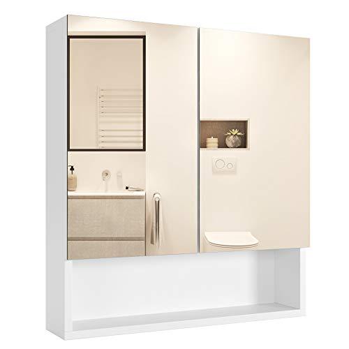 Homfa Spiegelschrank Wandspiegel Badezimmerspiegel Hängeschrank Badschrank Wandschrank Spiegel mit Ablage Holz Weiß 58x53x13cm