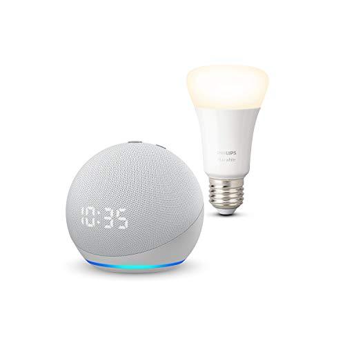 Nouvel Echo Dot (4e génération) avec horloge, Blanc + Philips Hue Ampoule Connectée White (E27), compatible avec Bluetooth et Zigbee (aucun hub requis)