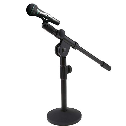 """Microphone Stand Universal Mic Mount with Metal Base Mic Clips Height Adjustable 11""""to 27"""" High with Boom Arm Table Mic Stand for Performance Podcast Recording"""