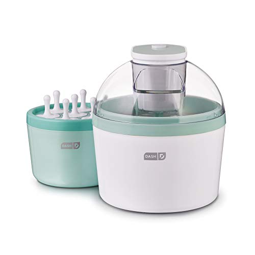 Dash DIC700AQ 2-in-1 Ice Cream, Frozen Yogurt, Sorbet + Popsicle Maker with Easy Ingredient Spout, Double-Walled Insulated Freezer Bowl & Free Recipes, 1 quart, Aqua