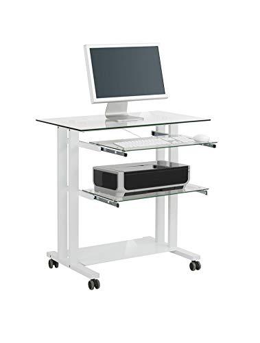 Mesa para Ordenador con Marco de Color Blanco, vidrio