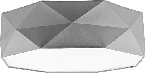 Deckenlampe Lampe 52 cm Deckenleuchte 4 x E27 Schlafzimmer weiß schwarz grau Deckenleuchte für Wohnzimmer, Flur, Esszimmer, Schlazimmer 230V Leuchtmittel Metall Stoff (Grau 1566)