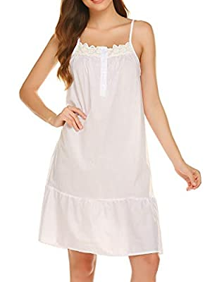 100% COTTON FABRIC- Ekouaer Cotton Nightgown is made of pure cotton fabric, which is super soft,lightweight,skin-friendly and not pre-shrunk. Wearing this sleepwear for women,you can relaxing and forgeting all fatigues.Well-made and hight-quality sle...