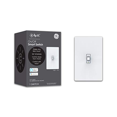 GE Lighting 93105376 Works with Alexa + Google Home Without Hub, Single-Pole/3-Way Replacement, White C by GE On/Off Toggle Style Smart Switch