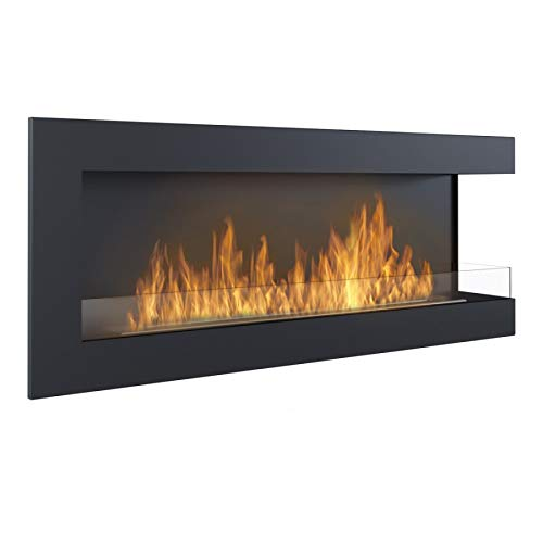 Delta 1200 Ethanol Fireplace, Wall Mounted, Right Corner, Black, Width: 120cm, TUV Certified