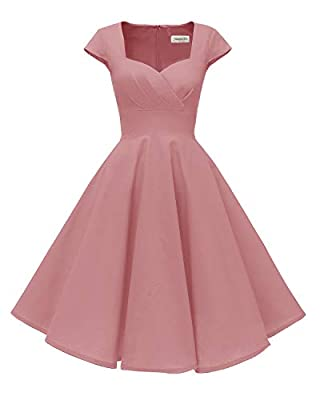 Fabric: 100% Spandex. Comfortable lining on the top. Features: Cap Sleeves, Sweetheart neckline, Hidden back zipper, Empire Waist, Pockets, Tea length Sizing: Please carefully read the Size Chart we provided in the pictures, not Amazon Size Chart.XS(...