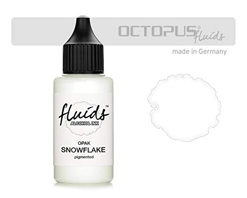 30ml Fluids Alcohol Ink SNOWFLAKE, Tinta al alcohol para Fluid Art y Resin Art, blanco, white, blanco