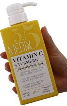 Medix 5.5 Vitamin C Cream w/Turmeric for face and body. Firming & brightening cream for age spots, dark spots & sun damaged skin. Anti-Aging Cream Infused w/Vitamin E, Ginger, Ginseng. (15oz)