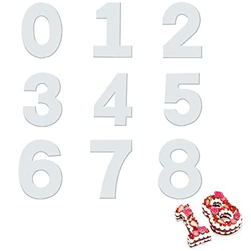Plantilla De Plástico En Forma Número 12 Pulgadas Conjunto De Números De Molde Pasteles Gran Cantidad Moldes Para Pastelería 0-8 Reutilizable Para Cumpleaños, Aniversario, Decoración Tarta, 9 Piezas