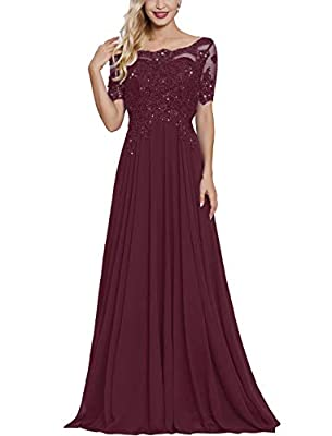 Elegant floral lace applique beading mother of the bride groom dresses with short sleeves formal evening party gown for women.with Built-in bra Size:please carefully check our size chart image(not amazon size chart link),or email us your detailed mea...