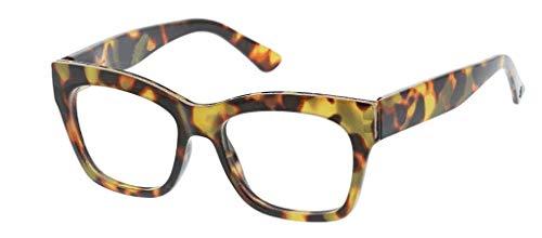 Peepers by PeeperSpecs Women's Shine Square Reading Glasses, Tortoise - Focus Blue Light Filtering Lenses, 53 mm + 2