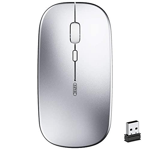 Ratón Inalámbrico Recargable, Silencioso Infame Ratón óptico Silencioso Click Mini, Ultra Delgado 1600 DPI Para Computadora Portátil, PC, Portátil, Computadora, Macbook (Plata clara)