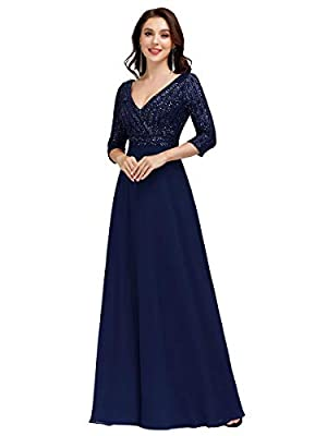 Fully lined, no built-in bras, low stretch Features: long sleeve, sparkle, deep v-neck, chiffon, sequin, A-ine, floor-length, long party gowns, plus size dresses, elegant dress Deep maxi v-neck dress with long sleeve, the sequin makes you look charm,...