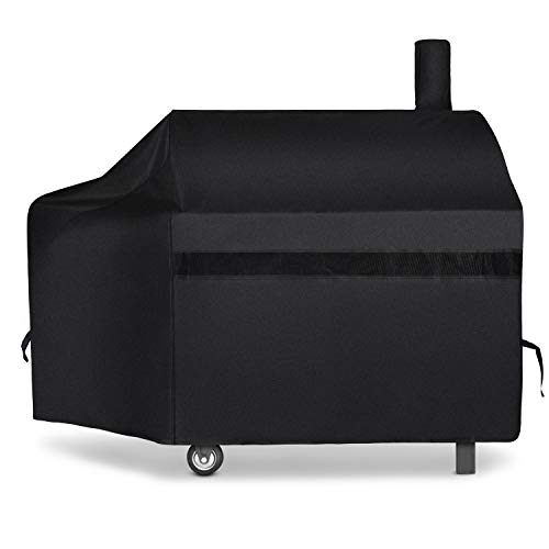 iCOVER 600D Heavy-Duty Premium Classic Outdoor Canvas BBQ Barbecue Charcoal Pellet Grill Smoker Cover Off-Set Smoker Cover G21608 for Weber Char-Broil Brinkmann Nexgrill