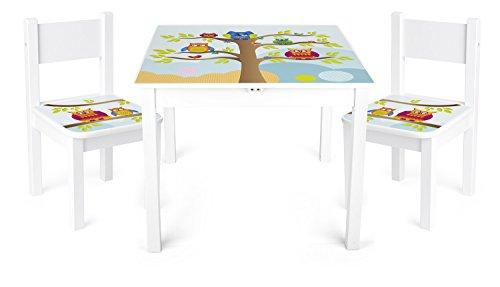 Set di tavolo e sedie in legno Owl
