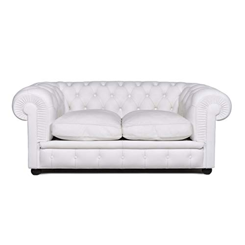 Poltrona Frau Chester Leather Sofa White Two Seater Couch Retro