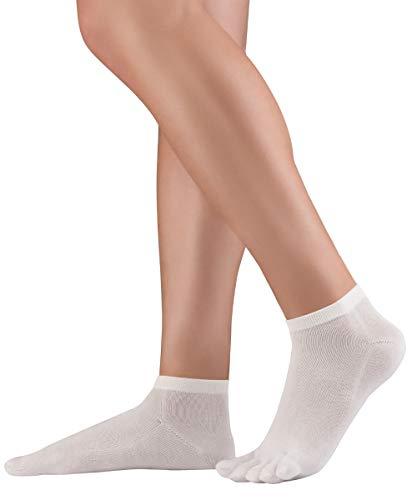 Knitido Dr. Foot Silver Protect Calzini con dita in cotone fantasmini con fibra d'argento per diabete e prevenzione di infezioni, Misura:35-38, Colori:bianco (002)
