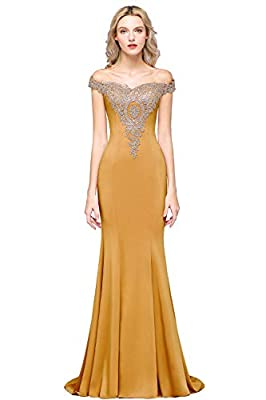 Dry clean only/flat dry/low iron Lace appliques long mermaid formal evening gowns Features rhinestone beaded gold lace appliques,off-the-shoulder sleeves,sweetheart neckline. Ideal choice as a formal dress for prom,evening party,gala,military ball,bl...