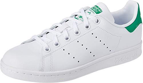 adidas Stan Smith J Zapatillas Unisex Niños, Blanco (Footwear White/Footwear White/Green 0), 38 EU