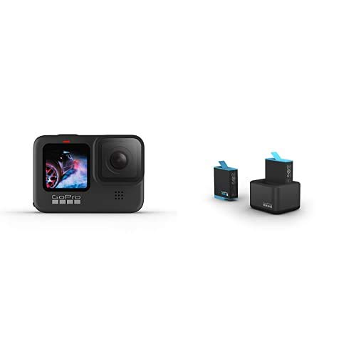 GoPro HERO9Black - Fotocamera sportiva impermeabile con schermo LCD, video Ultra HD 5K, foto da 20 MP, live streaming a 1080p + Caricabatteria doppio con Batteria (HERO9 Black)