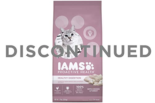 IAMS PROACTIVE HEALTH Adult Healthy Digestion Dry Cat Food for Sensitive Stomachs with Chicken and Turkey, 7 lb. Bag