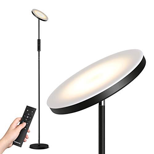 Tomons Stehlampe LED Dimmbar, Stehleuchte Stufenlos Dimmbar, Schwarz LED Deckenfluter mit Fernbedienung, Stufenlose Farbtemperaturen 30W Industrial Modern Stehlampen für Wohnzimmer, Büro, Schlafzimmer