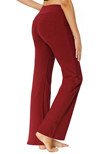 Women's Bootcut Yoga Pants Workout Wide Leg Flared Bell Bottom Loose Fit Overalls Yoga Pants for Women,Red,XL 3