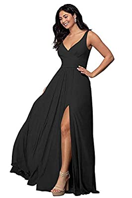 Feature:The Elegant Simple V Neck Bridesmaid Dresses Long With Split,Pleated,Chiffon,Sleeveless,A-Line,Backless,Floor Length,Lace-up,Built in bra Customized Service: Size and Color Is Available Cusromize for This Split Bridesmaid Dresses 2020,Pls Con...