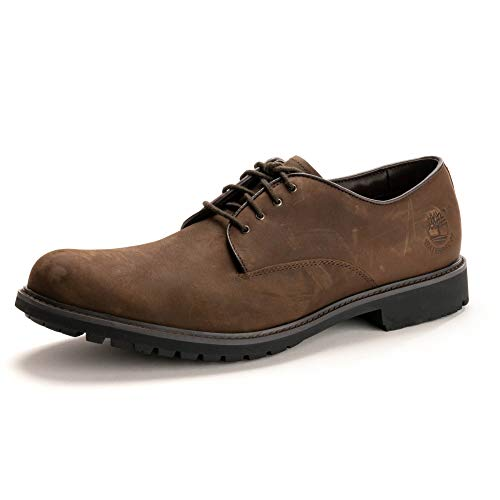 Timberland Stormbucks Plain Toe, Zapatos de Cordones Oxford Hombre, Marrón Dark Brown Nubuck, 43 EU
