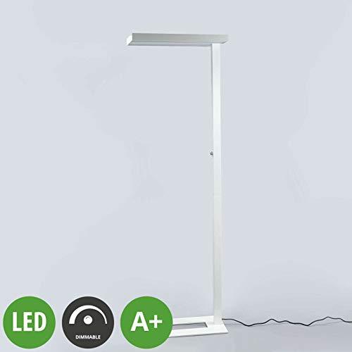 Lampenwelt LED Stehlampe \'Logan\' dimmbar (Modern) in Weiß aus Aluminium u.a. für Arbeitszimmer & Büro (A+, inkl. Leuchtmittel) - Büro-Stehleuchte, Bürolampe, Arbeitsplatzlampe, Standleuchte