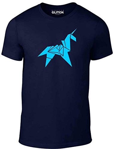 Reality Glitch. Camiseta con unicornio de origami, para hombres azul azul marino Large