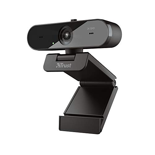 Trust Taxon QHD Webcam mit 2 Mikrofone für PC/Mac, 2560x1440, 2K, 1440p, 30 FPS, Blickschutzfilter, Autofokus, Streaming, Zoom, Skype, Teams, Google Meet